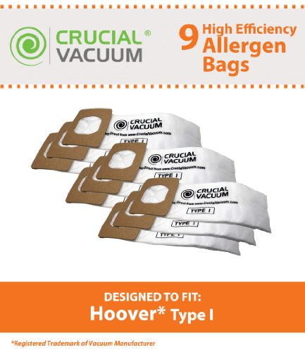 9 Hoover Type I Allergy Filtration Vacuum Cleaner Bags, Compare to Hoover Platinum UH30010COM Part # AH10005, Designed & Engineered by Crucial Vacuum - Platinum Part