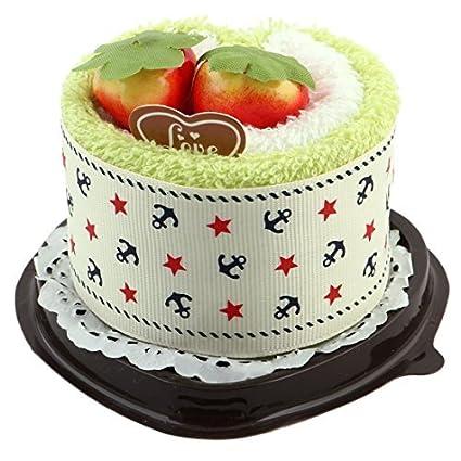 eDealMax microfibra en Forma de corazón boda simulada fresa Decoración Torta de la toalla toallita Verde