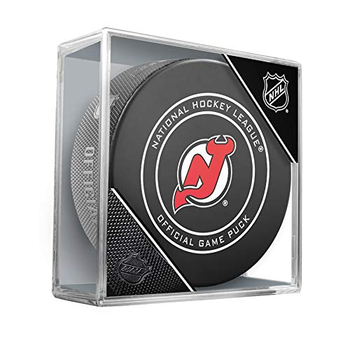 New Jersey Devils Official Game Hockey Puck with Holder -