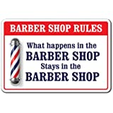 "What Happens in The Barber Shop Sign Men Club Haircut Stylist Salon | Indoor/Outdoor | 12"" Tall"