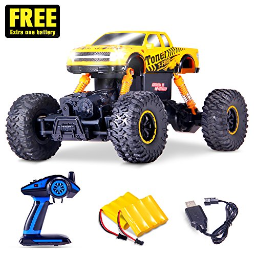 Off Road Remote Control Buggy - Geekper Electric RC Cars Built with LED Headlights - Offroad Remote Control Car RTR RC Buggy RC Monster Truck 1:16 4WD 2.4Ghz High Speed ( with 2 Rechargeable Battery )