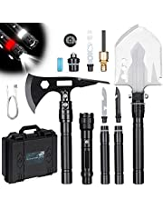 """Survival Shovel Axe Multitool, Thicken Anti-Rust Unbreakable Tactical Shovel-180°Degree Folding Camping Gear with 7.87"""" Non-Slip Lengthened Handle & Flashlight for Outdoor Hiking, Digging, Expedition"""