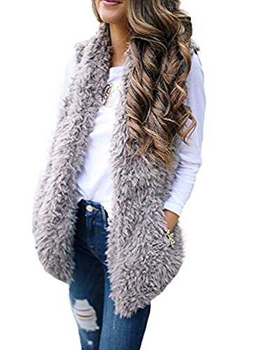 Sibylla Women's Open Front Lapel Draped Sherpa Fleece Vest Faux Fur Sleeveless Cardigan Jacket with Pocket (Large, Grey-1) - Tipped Cotton Cardigan