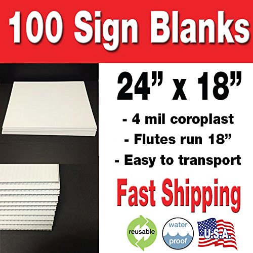 100 Pack 18x24 Corrugated Plastic Sign Blank- White