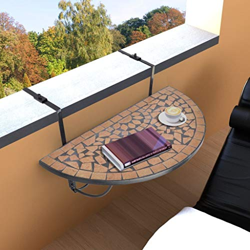 Festnight Folding Hanging Balcony Table with Mosaic Design Tabletop Portable Semi-Circular Railing Serving Side Table Stand for Porch,Patio,Garden,Deck Outdoor Indoor Furniture