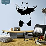 Banksy Cool Panda Removable Vinyl Wall Stickers Decal Mural Wallpaper Art Baby Kids Room Home Decoration 58x67cm (black)