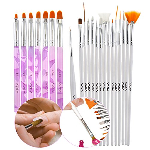 Premium Quality Professional Manicure Nail Art Set With 22pcs Brushes Including Stripers, Liners, Dotters And Acrylic Tools In White And Purple Colors By VAGA