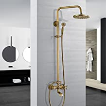 ROVATE Luxury Rainfall Shower Head Mixer Set, Bathtub Faucet Taps Complete Kit with Hand Sprayer, Shower Hose (Antique Brass Finished)