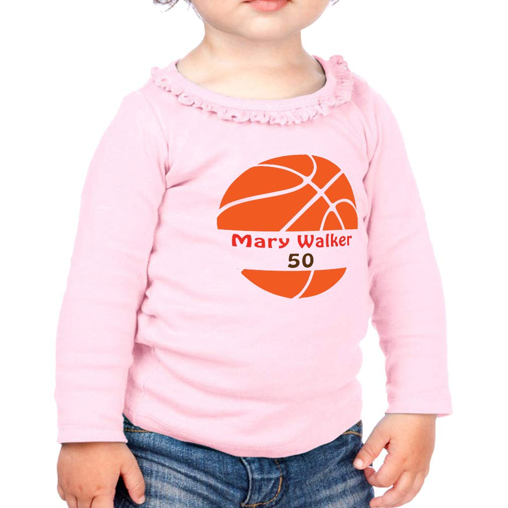 Personalized Custom Player Sport Cotton Toddler Long Sleeve Ruffle Shirt Top