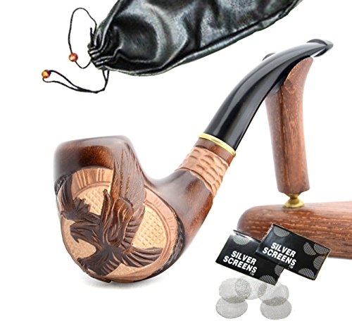 """American Eagle"" pear wood hand made wooden tobacco smoking pipes pipe  + Pouch"