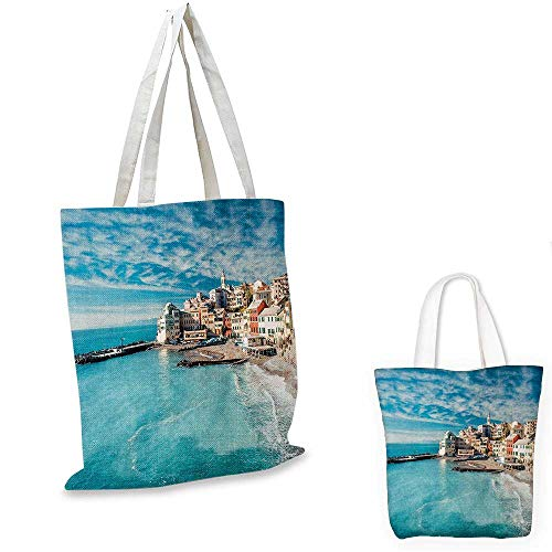 Fruit Charm Italian (Italy non woven shopping bag Panorama of Old Italian Fishing Village Beach in Old Province Coastal Charm Image fruit shopping bag Turquoise. 16