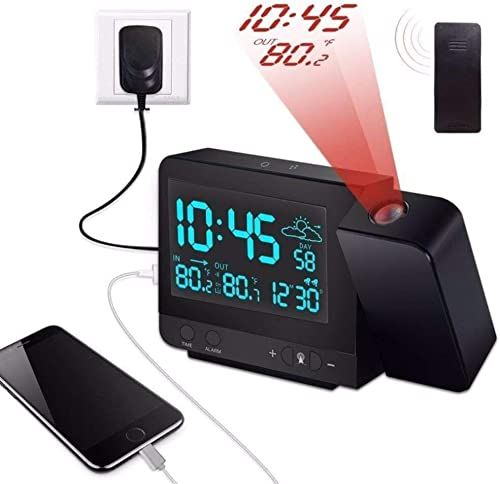 Dr. Prepare Projection Alarm Clock, Digital Clock Projector with Indoor Outdoor Thermometer Hygrometer, Weather Station, Dual Alarm, USB Charging, Snooze Function and Colorful Backlight for Bedroom