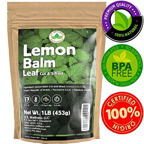 Lemon Balm Tea (Bulk Herbal Tea): Bulk Lemon Balm Leaf (Melissa Officinalis Caffeine Free) - Herbal Balm, Bulk Balm Leaf (Cut and Sifted), 1lb (16Oz) U.S. Wellness Bulk Tea ()