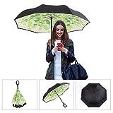 Aweoods Double Layer Inverted Umbrella Cars Reversible Umbrella (Grape Leaf)