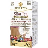 Hyleys Slim Tea 5 Flavor Assortment - Weight Loss Herbal Supplement Cleanse and Detox - 25 Tea Bags (1 Pack)
