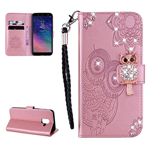 Glitter Diamond Wallet Case for Samsung Galaxy A6 2018,Gostyle Embossed Owl Flower Leather Flip Card Holder Case,3D Bling Rhinestone Magnetic Closure with Hand Strap Stand Cover-Rose Gold