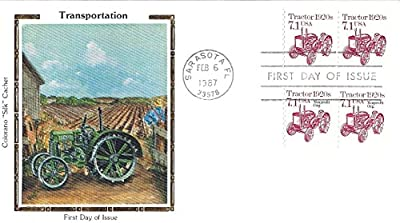 """First Day Cover Tractor 7.1 Cent Scott #2127 And #2127a Feb.6,1987 Colorano """"Silk"""" Cachet"""