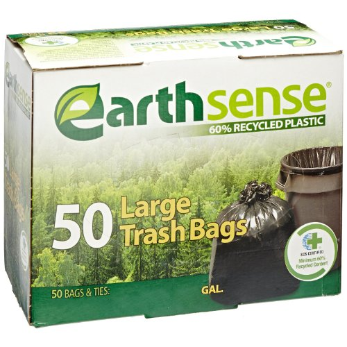 Earthsense Recycled Can Liners, 33 Gallons, Black, 50 bags/box (GES6TL50) (2 Box)