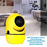 WiFi IP Camera Home/Baby/Pet Monitor Cloud Storage,Support Amazon Alexa Echo,1080P HD Wireless Camera IR Sensor Motion Detection Two-Way Audio Night Vision,1080P+Yellow