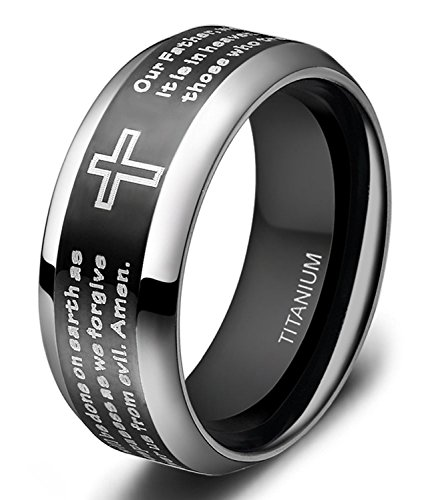 Men's Titanium Two Tone Black Silver Ring Lord's Prayer Engraved with Cross Praying 8mm Size 6 - 14 (10.5)