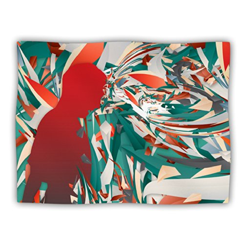 Kess InHouse Danny Ivan  Soccer Headshot  Teal Red Dog Blanket, 40 by 30-Inch