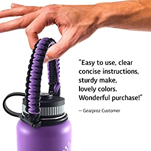 Hydro Flask and Nalgene Water Bottle Carrier from Gearproz, America's #1 Choice in Paracord Handles and Accessories - Worry-free HydroCord Strap Guaranteed to Prevent Dropping (Purple)