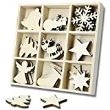 45 Pcs Wooden Christmas ornamments for Christmas Decorations with Wooden Storage Box(Angel)