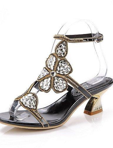 Talons Gros Cuir Chaussures Et Casual Sandales Talon En Femmes Or Robe Soirée Noir Or Shangyi Fête De 0FwqEIw