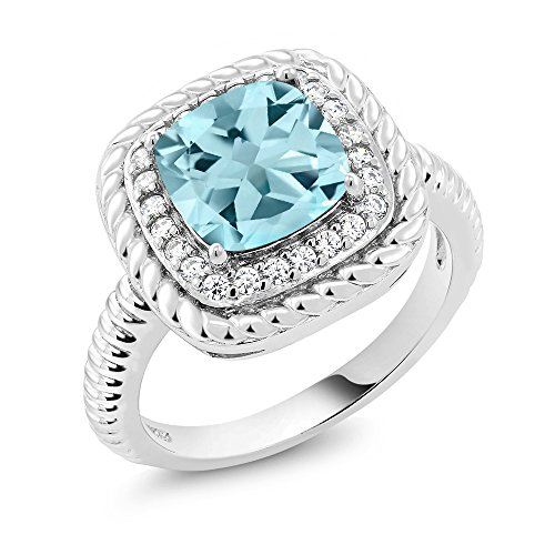 Gem Stone King 925 Sterling Silver Sky Blue Topaz Engagement Ring 2.74 cttw Cushion Cut Gemstone Birthstone Available 5,6,7,8,9 (Size 8)