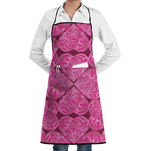 NRIEG Romantic Hearts Faction Unisex Kitchen Cooking Garden Apron£¬Convenient Adjustable Sewing Pocket Waterproof Chef Aprons