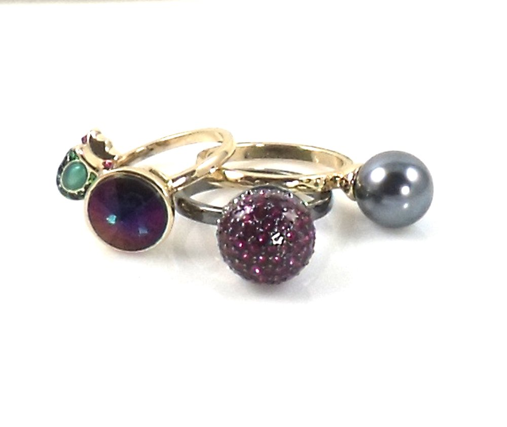Betsey Johnson You Give Me Butterflies Mixed Stone Stackable Ring, Size 7.5