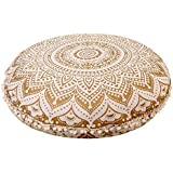Womencrafts Golden Color Indian Beautiful Mandala Floor Cushion Cover Throw Handmade Floor Pillow Decorative Round Pouf Cover Beautiful Cotton Ottoman Cover