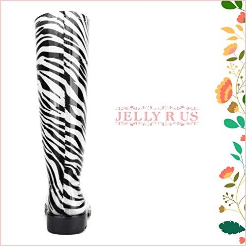 Stivali Da Pioggia Gelatinosi Da Donna Al Ginocchio Zebra-stripe