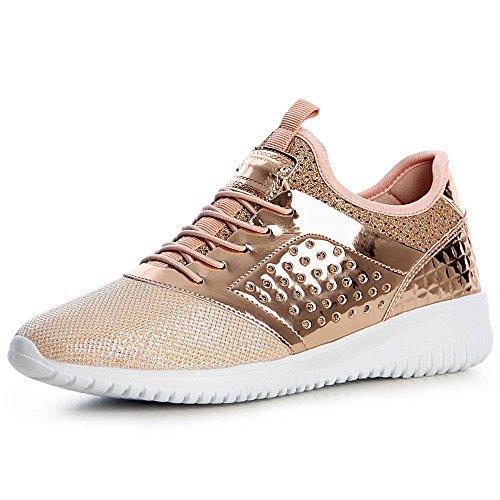 topschuhe24 1368 Damen Plateau Turnschuhe Glitzer Sneaker Rose Gold