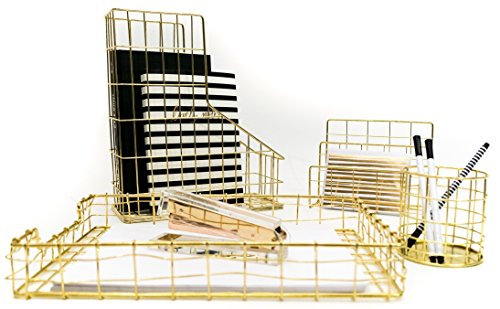Blu Monaco Office Supplies Gold Desk Accessories for Women - 4 Piece Wire Gold Desk Organizer Set – Letter Sorter, Paper Tray, Pen Cup, Magazine File - Stationery Decor