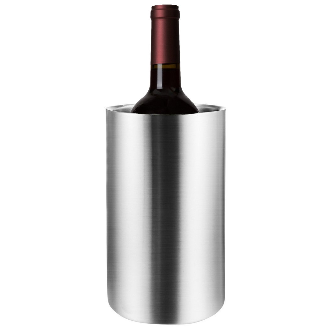 Wine Chiller Bucket, Stainless Steel Double Wall White Wine Bottle Cooler Bucket   Insulated Champagne Beer Ice Bucket