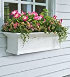 Plow & Hearth Yorkshire Easy Care PVC Self Watering Window Planter Box 36 L x 10 D x 12 H White