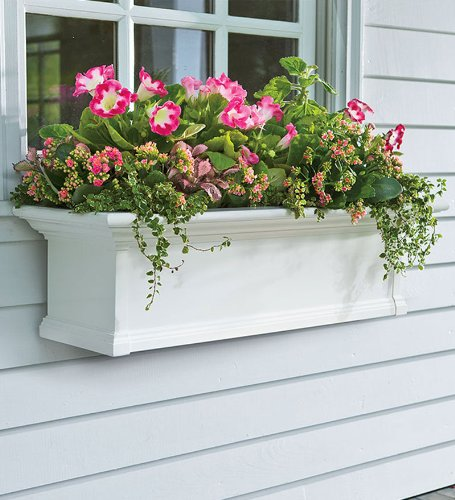 Yorkshire Easy Care PVC Self Watering Window Planter Box 36 L x 10 D x 12 H White