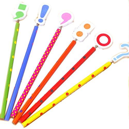 Set Of 6 Creative Cartoon Woody Pencils School Supplies- Punctuation Punctuation Pencils