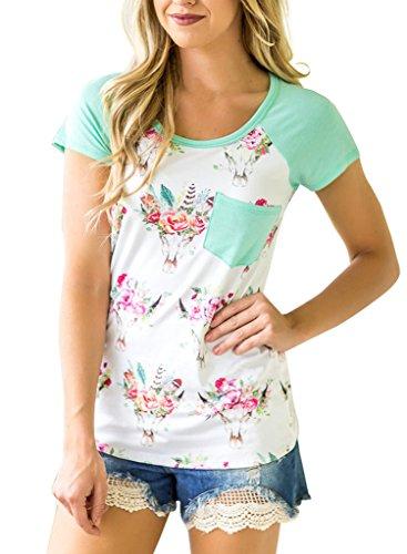 HOTAPEI Casual Floral Sleeve Pocket