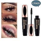 2 PCS 4D Silk Fiber Lash Mascara Waterproof Natural Thick Thickening and Lengthening Mascara, Waterproof & Smudge-Proof,Long Lasting Charming Eye Makeup