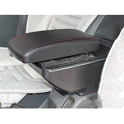 Super PDR® New Black Leather Sliding Big Storage Armrest Box Front Center Console Universal Fit (Black red line) (Universal Center Armrest compare prices)