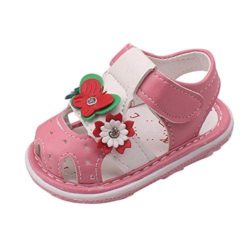 zapatos bebe niña verano Switchali Recién nacido nina primeros pasos zapatos bebe con suela floral princesa Zapatos deportivos moda casual sandalias de nina baratos Rosado