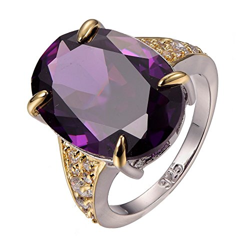 Amethyst 925 Sterling Silver Filled White Sapphire Ring Size T 1/2