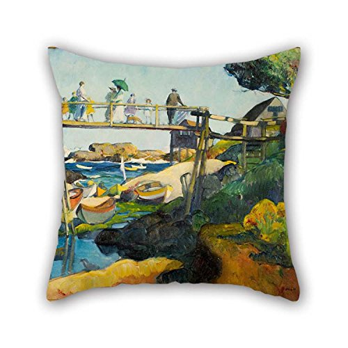TonyLegner Oil Painting Leon Kroll - The Gay Bridge Tiro Amortiguador Cubiertas 20 X 20 Inches / 50 por 50 Cm para Marido...