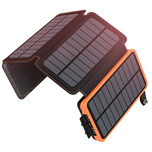 Solar Charger 25000mAh, SOARAISE Waterproof Power Bank with 4 Solar Panels Portable Battery Pack Compatible with Most Phones, Tablets and More (Best Solar Panel Phone Charger)