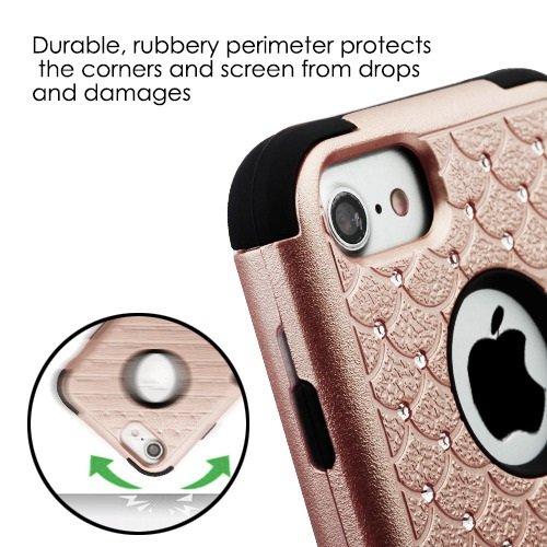 ShopAegis - [HYBRID RHINESTONE] [Rose Gold/Black] Sparkle Web Pattern Shockproof Armor Phone Cover Case for Apple iPhone 8/7 by ShopAegis (Image #5)