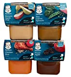 Gerber 2nd Foods Bundle (4 Pack). 1 Banana Apple Pear, 1 Pea Carrot Spinach, 1 Chicken Rice, and 1 Prune Apple. Plus Free Bonus 1 Baby Washcloth & Dispbl Baby Bibs.