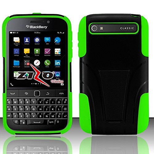 BlackBerry Classic Q20 Case, Luckiefind Hybrid Dual Layer Case with Stand, Stylus Pen Accessory (AT&T/Verizon) (Stand (Green Blackberry Faceplates)