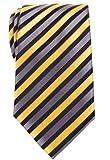 Retreez Retro Three-Color Striped Woven Microfiber Men's Tie - Yellow, Black, Grey